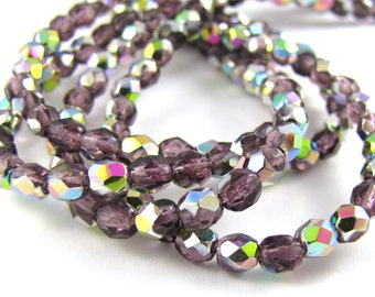 Amethyst Vitrail 4mm Facet Round Czech Glass Fire Polished Beads 50pc #217