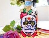 Sugar Skull Painted Tequila Bottle Light