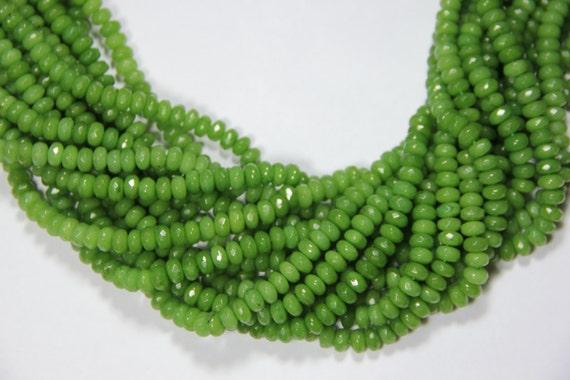 "Lime Green Jade 8x5mm faceted roundel beads 16"" length full strand"