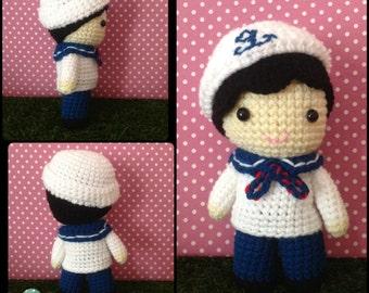 Crochet pattern Doll : Nautical Sailor Boy Doll Amigurumi Crochet Pattern