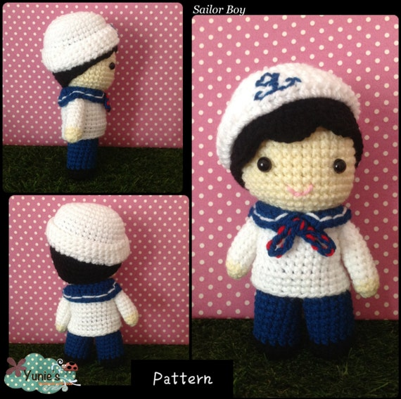 Crochet Patterns Nautical : Crochet pattern Doll : Nautical Sailor Boy Doll Crochet Pattern ...