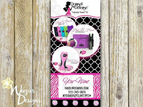 Damsel in defense front back rack card direct by for Damsel in defense business cards