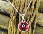 Evil eye necklace, red eye pendant necklace, sterling silver greek mati, eye necklace