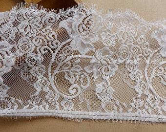 Chantilly Eyelash Lace Fabric, White Wedding Lace Trim, Rose Floral Lace, Bridal Veils Lace
