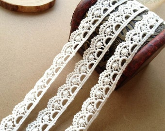 Lovely Cotton Lace Trim, White Ribbon Lace, White Cotton Lace Trim for Bridal, Sewing, Applique, Gift wrap, Crafting