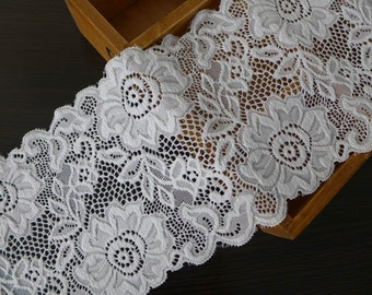 "WHITE Elastic Lace 5.5"" Bridal Stretch Lace Trim Wedding Gloves Headbands Stretchy Lace Lingerie Sewing"