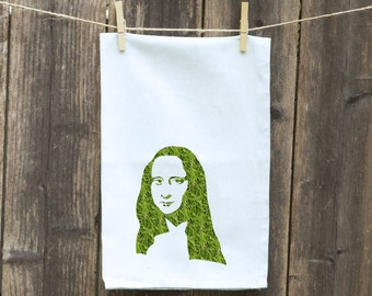 Mona Lisa Dish Towel, Funny Kitchen Towel, Hostess Gift, Gift for Her, Housewarming Gift, Tea Towel - Flour Sack Towel, Wedding Shower Gift