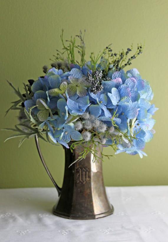 Silk Flower Arrangement Bouquet In Antique Silver Plated Vase
