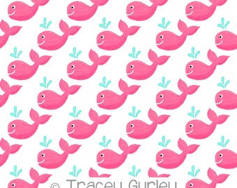 Pink Whale Pattern Repeat on White - Original Art download, pink whale printable paper