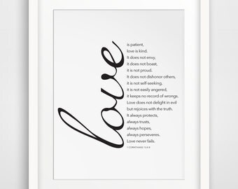 Love is Patient, Love is Kind, Bible Verse Print, 1 Corinthians 13 : 4-8, Christian Print, Bible Print, Bible Art, Scripture Printable