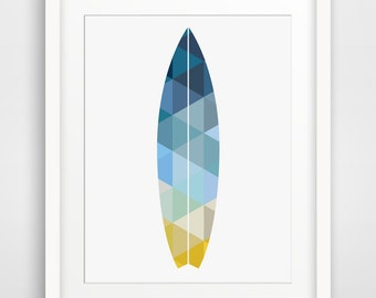 Surfboard Wall Print, Summer Art, Geometric Print, Surfboard Wall Art, Navy Wall Art, Blue Wall Print, Geometric Art, Summer Wall Print
