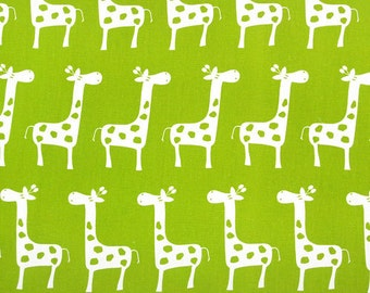 """15"""" REMNANT  Premier Prints Stretch Chartreuse Green Giraffe Fabric - Gisella Chartreuse Green and White Nursery Fabric"""