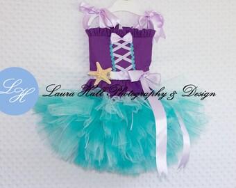 MERMAID TUTU set - little mermaid tutu, little mermaid girl tutu dress, mermaid tutu dress, Aqua purple tutu, mermaid dress, mermaid tutu