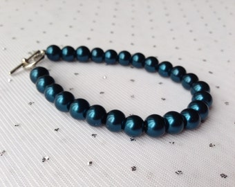 Dark Teal Blue Bracelet, Teal Blue Wedding, Teal Jewelry, Bridesmaid Jewelry, Pearl Bracelet, Wedding Jewelry, Beaded Bracelet