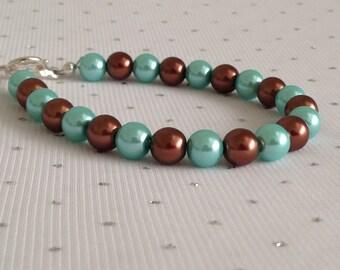 Aqua Blue and Brown Pearl Bracelet, Robin Egg Blue Jewelry, Aqua Blue Wedding Jewelry, Bridesmaid Jewelry Gift, Blue Beaded Jewelry