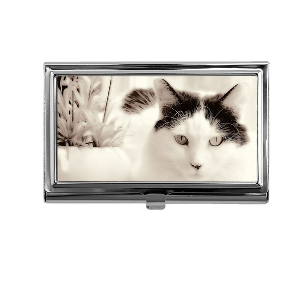 Cat business card holder business card case credit card id for Cat business card holder