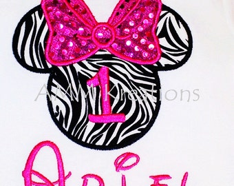 Minnie Mouse Zebra and Pink Sequins Birthday Shirt or Onesie