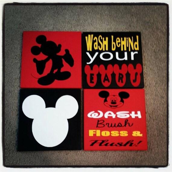 Mickey mouse bathroom decor by stickemupvinylbyjess on etsy for Bathroom decor etsy