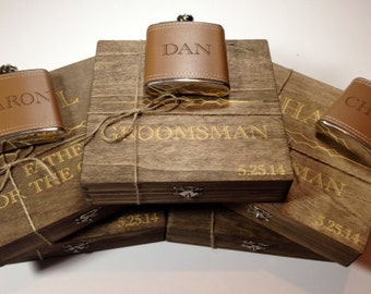 Groomsmen Gift -7 Rustic Cigar Boxes&Flasks-FREE Shipping-Laser Engraved Names - Personalized Stained Wooden Cigar Box - Felt Lined Bottom
