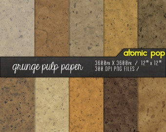 SALE Craft Pulp Digital Paper Pack// Instant Download Decoupage, Scrapbooking, and Crafts // Handmade Textured Brown Crumpled Paper Bag