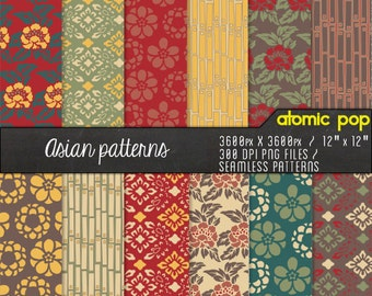 Instant Download // Retro Asian Wallpaper Digital Paper Pack// Seamless Photoshop Patterns