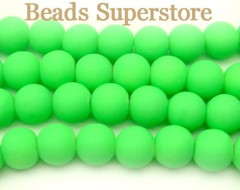 SALE CLOSEOUT 8 mm Fluorescent Neon Green Glass Round Bead - 50 pcs
