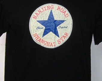 NANJING ROAD Shanghai Star China Capital Vintage Man's Black Tee Shirt-