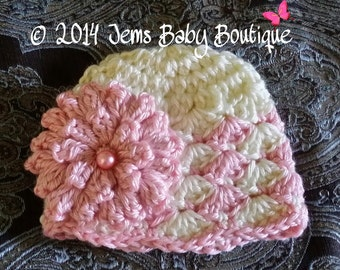 Newborn Crochet hat, Shell Flower hat, Cream & light pink,  Made to Order , Baby Girl  Hat with Flower,  Photo Prop Beanie