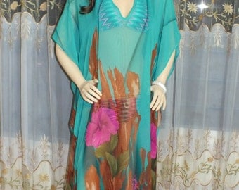 Kaftan,Plus size caftan, caftan dress,chiffon  beach wedding honeymoon kaftan cover up dress