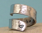 I Love You to the Moon and Back Ring - Personalized Ring - Adjustable Aluminum Wrap Ring. Sterling Silver Ring
