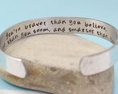 Personalized Bracelet- You Are Braver Than You Believe Secret Message Hand Stamped Bracelet- Personalized Bracelet
