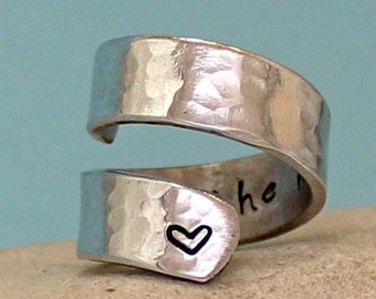 I Love You to the Moon and Back Ring... Personalized Ring - Adjustable Aluminum Wrap Ring. Sterling Silver Ring