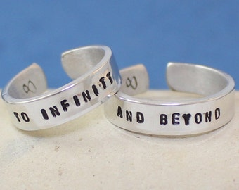 Anniversary Gift.. To Infinity and Beyond Ring.. Personalized Couple Rings. Adjustable. Custom rings. Hand Stamped, Aluminum Rings.. LOVE