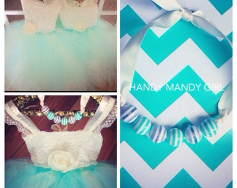 Adorable beaded aqua and ivory ribbon necklace for toddlers-prop for photographer