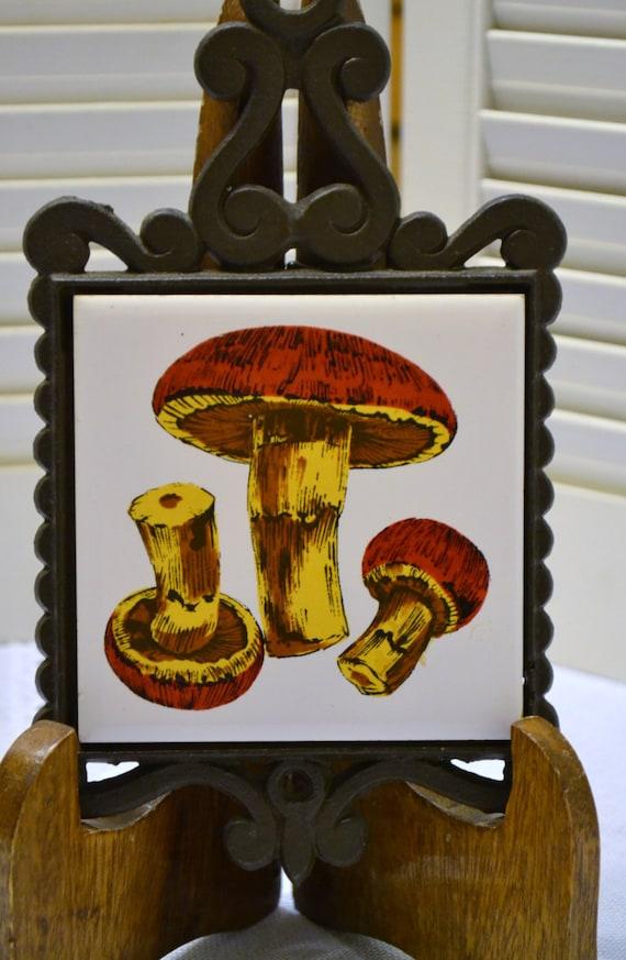 Vintage Cast Iron Trivet Ceramic Tile Mushrooms Japan Retro Kitchen ...
