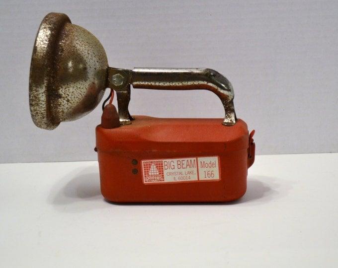 SALE OF WEEK Vintage Big Beam Flashlight Lantern Red Vintage Graphics Model 166 Rustic Decor PanchosPorch