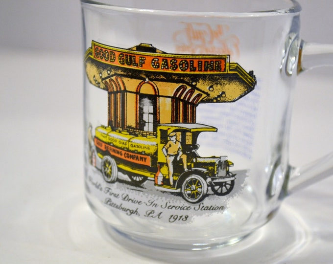 Vintage Good Gulf Gasoline Collectible Glass Mug Cup Advertising Petroleum PanchosPorch