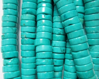 "Turquoise Magnesite Beads, Blue Heishi beads 6 mm x 3 mm, 16"" strand, 175 beads, A-Quality"