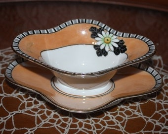 Very Pretty Noritake Lusterware Sauce Bowl with Matching Under Plate with Daisy Pattern