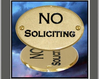 """Solid Brass Engraved Signs """"NO SOLICITING"""" Sign Plaque Plate"""
