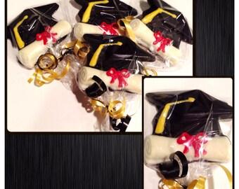 Graduation chocolate gift basketcenterpieces commack or set of 20 custom graduation chocolate lollipops negle Choice Image