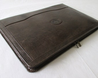 Leather portfolio, vegetable tanned dark brown leather, handmade compendium, Surface Pro 3, iPad Pro, Galaxy Tab cover