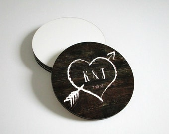 Rustic Wedding Coasters - Wedding Favors - Personalized Wedding Gift - Drink Coasters - Rustic Wedding Decor - Monogrammed Bride Gift