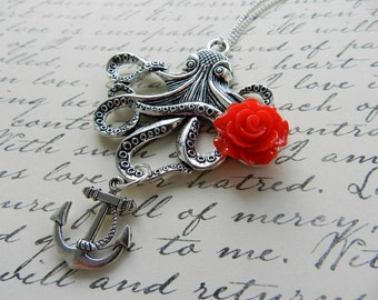 Antiqued Silver Steampunk Octopus Necklace with Red Rose- Steampunk Rockabilly Pin Up Sailor Nautical Kitsch Retro Vintage Inspired Jewelry