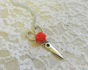 Steampunk Antiqued Silver Scissor Necklace with Red Rose