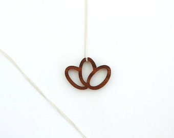 walnut wood pendant, wood pendant, floral necklace, laser cutted, delicate silver chain, made in germany