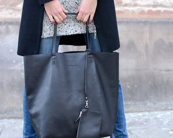 Black Leather Tote, Oversized Tote Bag, Leather Shopping Bag, Silky Italian Leather Tote, Shopper Bag ''Not Only Tote""