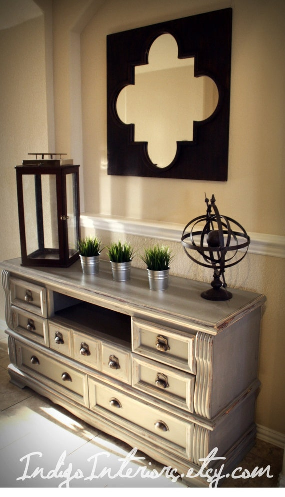 shabby chic gray dresser buffet changing table or tv stand. Black Bedroom Furniture Sets. Home Design Ideas