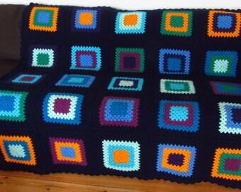 Crochet Blanket Crochet Afghan Blanket Granny Squares Blanket Boho Blanket Colorful Afghan Blanket