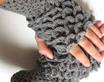 Fingerless gloves, dragon scale gloves gift  Arm Warmers dark Gray Accessory, dragon scale Fingerless Crocheted Gloves,winter accessories